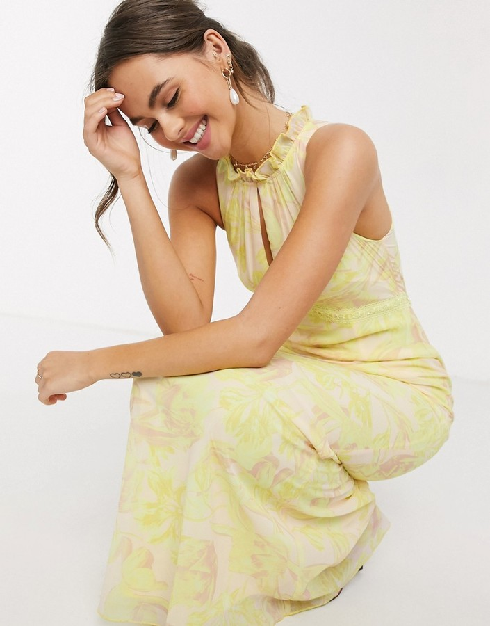 Little Mistress high neck maxi dress in lemon floral