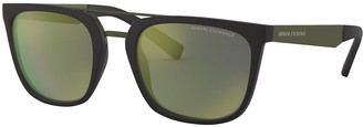 Armani Exchange Men's AX4090S 55mm Square Mirrored Sunglasses