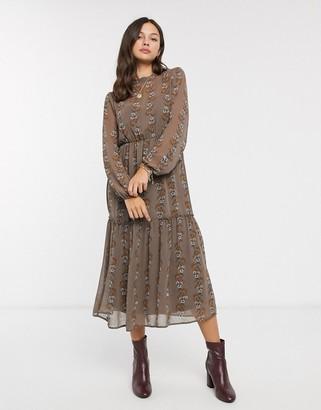JDY chiffon midi dress in mixed floral