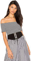 KENDALL + KYLIE Striped Bodysuit in Black & White. - size S (also in XS)