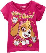 Children's Apparel Network Pink 'We're a Team' Cap-Sleeve Top - Toddler