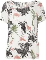Vila **Vila White Short Sleeve Floral Blouse