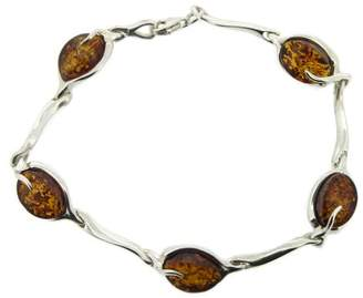 Nova Silver India Amber, Cognac Amber Set Silver Bracelet with Oval Links of 19.6cm