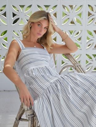 Forever New Siri Stripe Midi Dress - Navy / Porcelain Stripe - 4