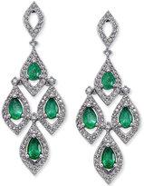 Macy's Emerald (1-1/2 ct. t.w.) and Diamond (1 ct. t.w.) Chandelier Earrings in 14k White Gold
