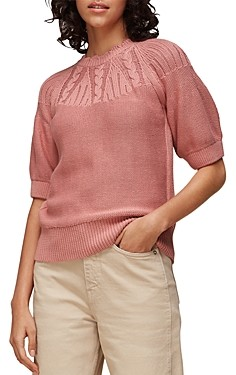 Whistles Bell-Sleeve Cable Knit Top