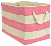 DII Woven Paper Textured Storage Basket, Collapsible & Convenient Storage Solution for Office, Bedroom, Closet, Toys, Laundry - Medium, Pink Rugby Stripe
