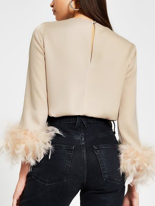 River Island Faux Feather Hem Top - Stone