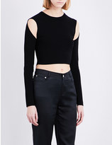 Opening Ceremony Cold-shoulder stretch-knitted cropped top