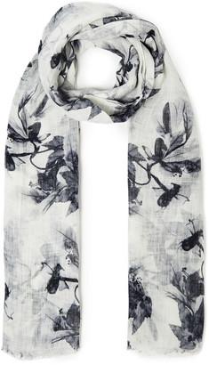 Brunello Cucinelli Frayed Floral-print Linen-gauze Scarf