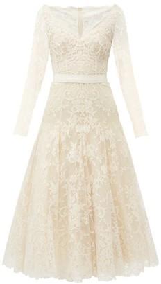 Alexander McQueen V-neck Sarabande-lace Midi Dress - Ivory