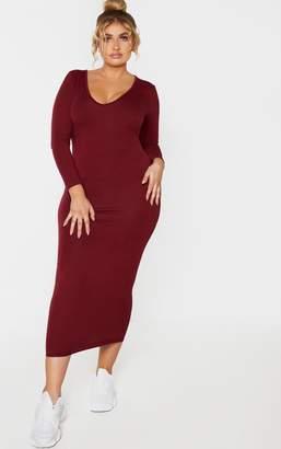 PrettyLittleThing Plus Charcoal Jersey V Neck Long Sleeve Midi Dress