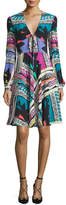 Etro Bishop-Sleeve Mixed-Print Dress, White/Multi