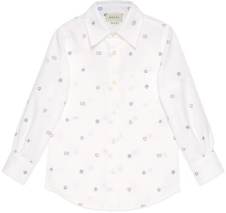 Gucci Children's symbols cotton file coupe shirt