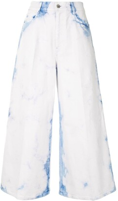 Stella McCartney Bleached Wide-Leg Cropped Jeans