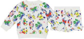 Stella McCartney Girl's Butterfly-Print Crewneck Sweater w/ Shorts, Size 12-36M