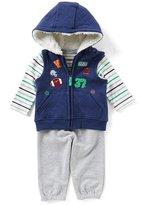 Little Me Baby Boys 3-12 Months Patch Vest, Striped Bodysuit, & Solid Pants Layette Set