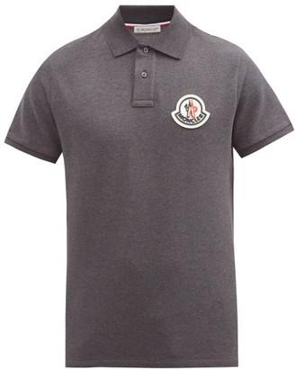 Moncler Logo-patch Cotton-pique Polo Shirt - Dark Grey