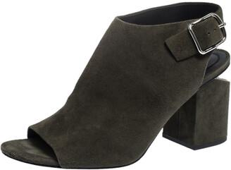 Alexander Wang Green Suede Block Heel Slingback Sandals Size 40.5