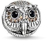 Thomas Sabo Women-Bead Owl Karma Beads 925 Sterling Silver blackened Zirconia white brown black K0178-650-7