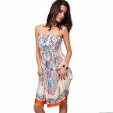 Dress FTXJ Women Printing Beach Wear Summer Swimsuit Cover Up Dress (XXL, )