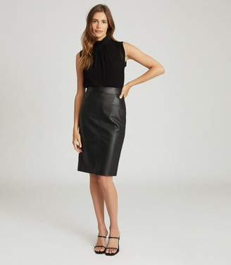 Reiss REAGAN LEATHER PENCIL SKIRT Black