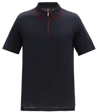 Dunhill Zip-collar Cotton-jersey Polo Shirt - Navy