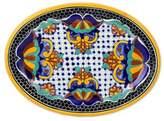 Artisan Crafted Talavera Ceramic 13 Inch Oval Serving Plate, 'Zacatlan'