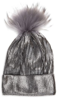 Bari Lynn Fox Fur Pom-Pom Metallic Knit Hat