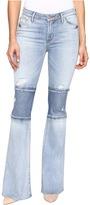 Hudson Custom Mia Five-Pocket Mid-Rise Flare Raw Hem in Royal Delta Women's Jeans