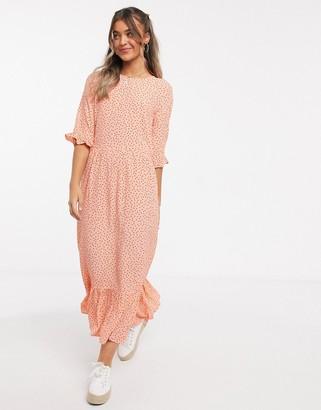 Miss Selfridge smock midi dress in peach spot