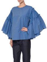 MSGM Striped Flowy-Sleeve Seersucker Top, Blue