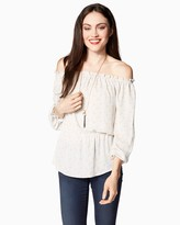 Charming charlie Off-the-Shoulder Peplum Peasant Top