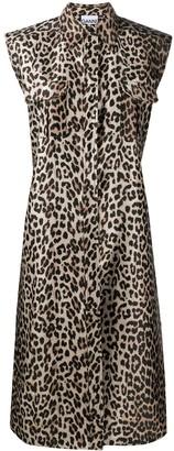 Ganni Leopard-Print Sleeveless Shirt Dress