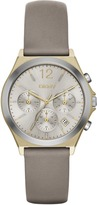 DKNY Parsons Gray Leather and Gold-Tone Chrono Watch