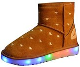 Gaorui Womens Warm Fur Lined Suede Pull on Ankle Snow Boots Round Toe LED Lights Shoes