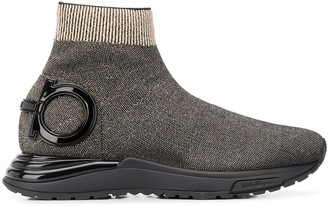 Salvatore Ferragamo Gancini-plaque high-top knitted trainers