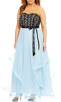 Teeze Me Plus Beaded Corset Bodice Long Dress