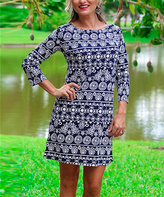 Blue & White Abstract Stripe Three-Quarter Sleeve Shift Dress
