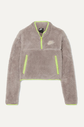 Nike Shell-paneled Fleece Sweatshirt - Beige