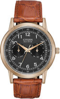 Citizen Eco-Drive Mens Gold-Tone Black Dial Strap Watch AO9003-08E