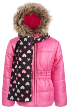 S. Rothschild Toddler Girls Puffer Coat with scarf