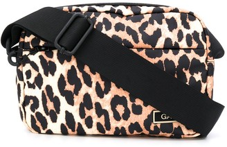 Ganni Leopard Print Shoulder Bag