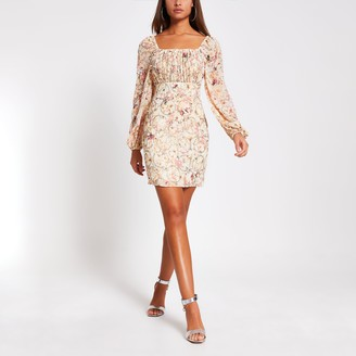 River Island Womens Pink floral long sleeve bardot bodycon dress