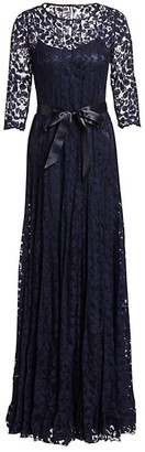 Teri Jon by Rickie Freeman Lace Pintuck Gown