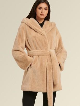 DKNY Donna Karan Women's Belted Faux Fur Coat With Hood - Beige - Size XL