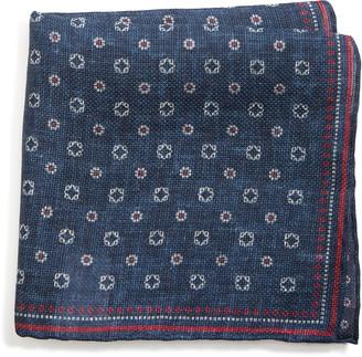 Brunello Cucinelli Medallion Linen & Cotton Pocket Square