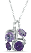 Zales Oval and Round Amethyst Abstract Swirl Pendant in Sterling Silver