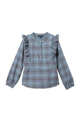 Joe's Jeans Plaid Ruffled Long Sleeve Shirt (Big Girls)