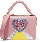 Sophie Hulme Finsbury Appliquéd Leather Shoulder Bag - Pink